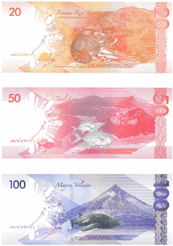 The new peso notes. Spot the endangered alphabet, lower left.